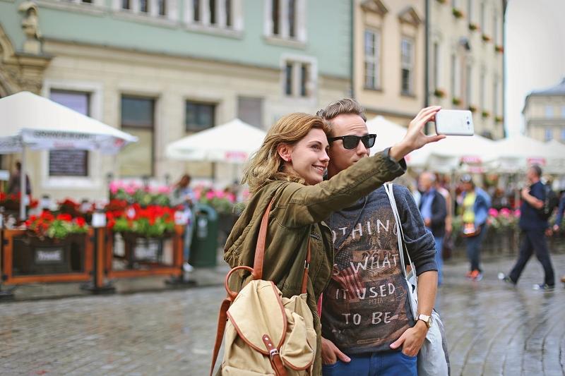 Selfie na starówce w Krakowie
