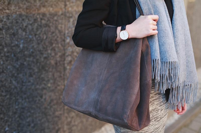 Zamszowa torba shopper