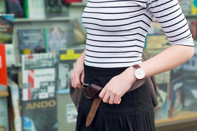 Zegarek i pasek skórzany - brąz