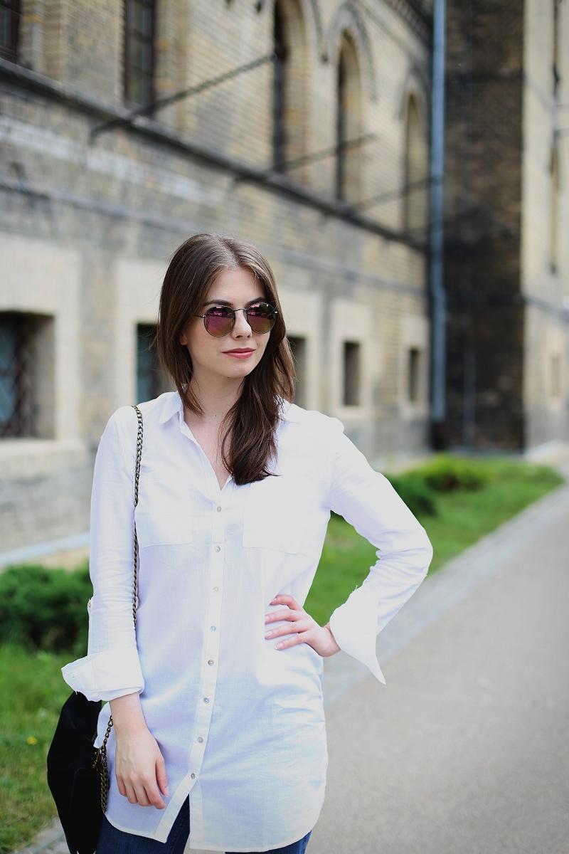 Przedłużana biała koszula