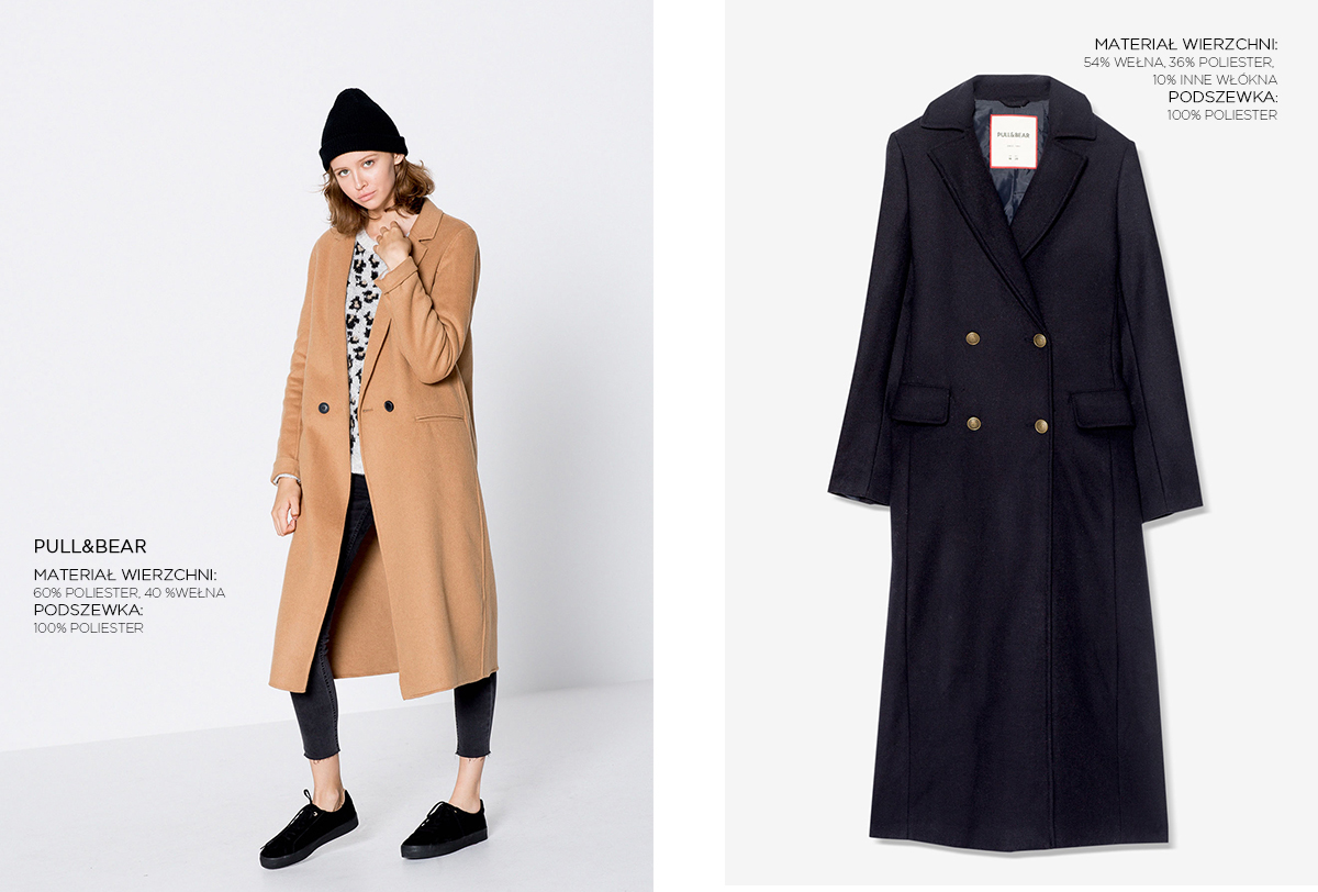 Wełniane płaszcze Pull&Bear