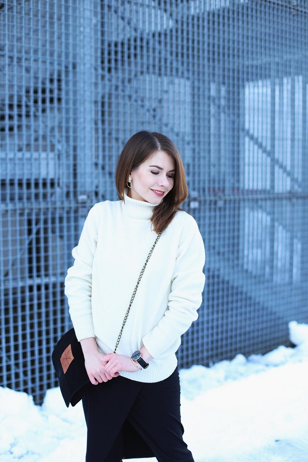 Zimowy zestaw z wełnianym swetrem