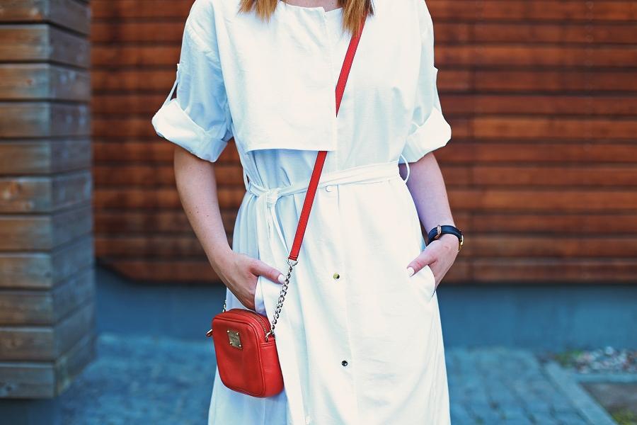 Sukienka trencz, torebka Michael Kors