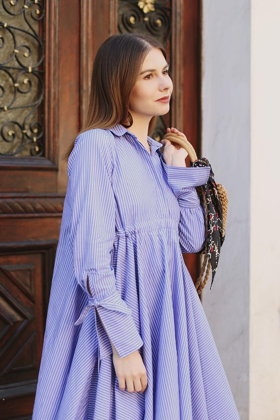 Koszulowa sukienka z asymetrycznym dołem