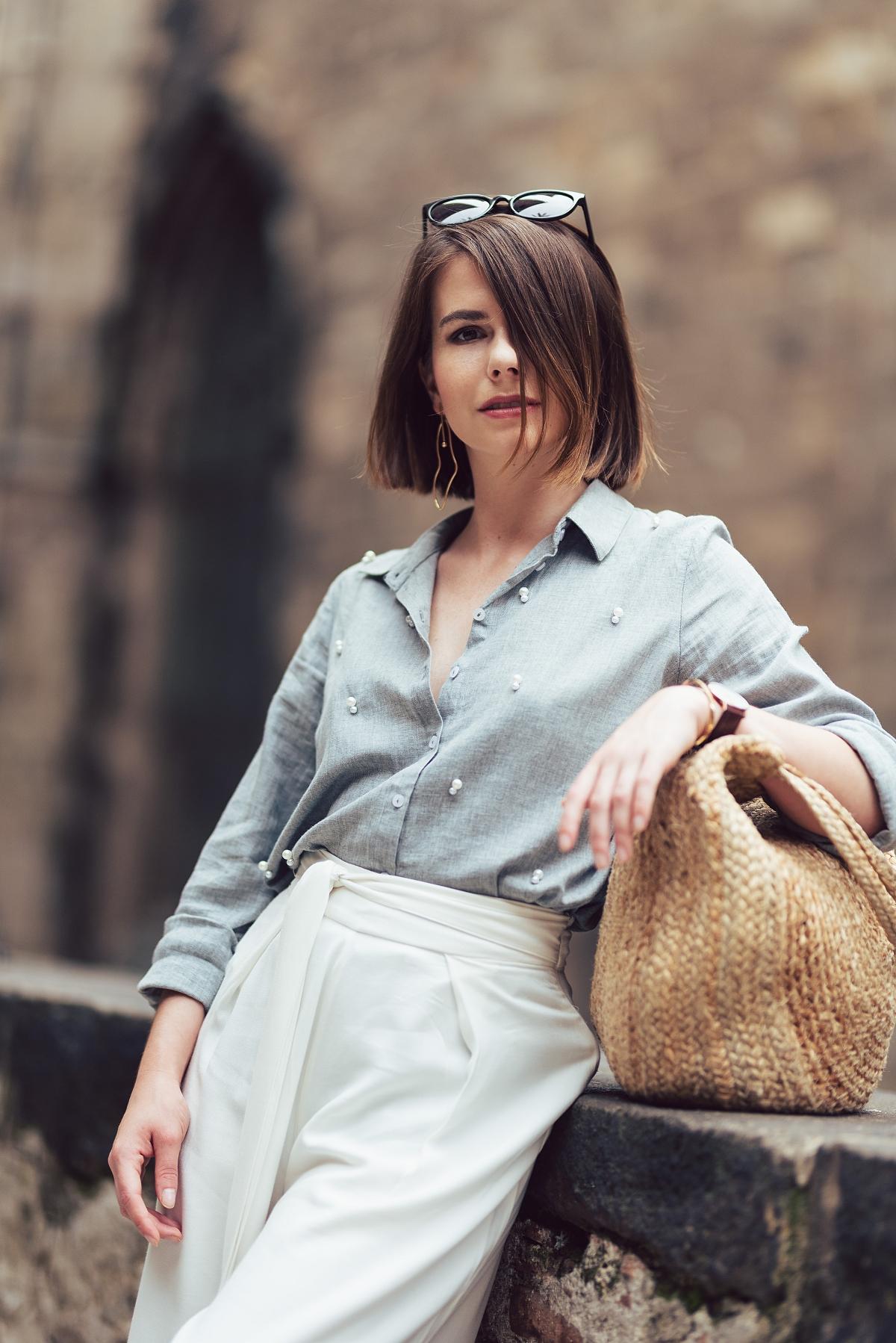 koszula z perelkami mules culotty Barcelona