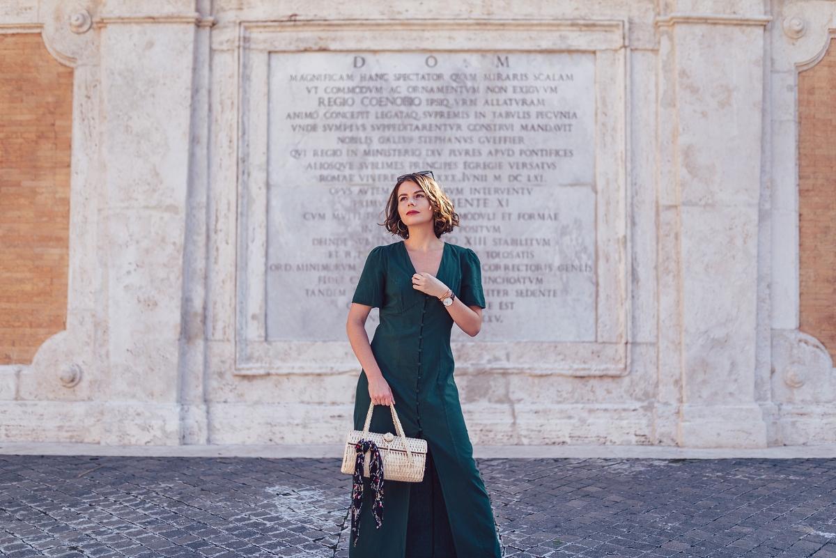 Rzym: zielona sukienka maxi