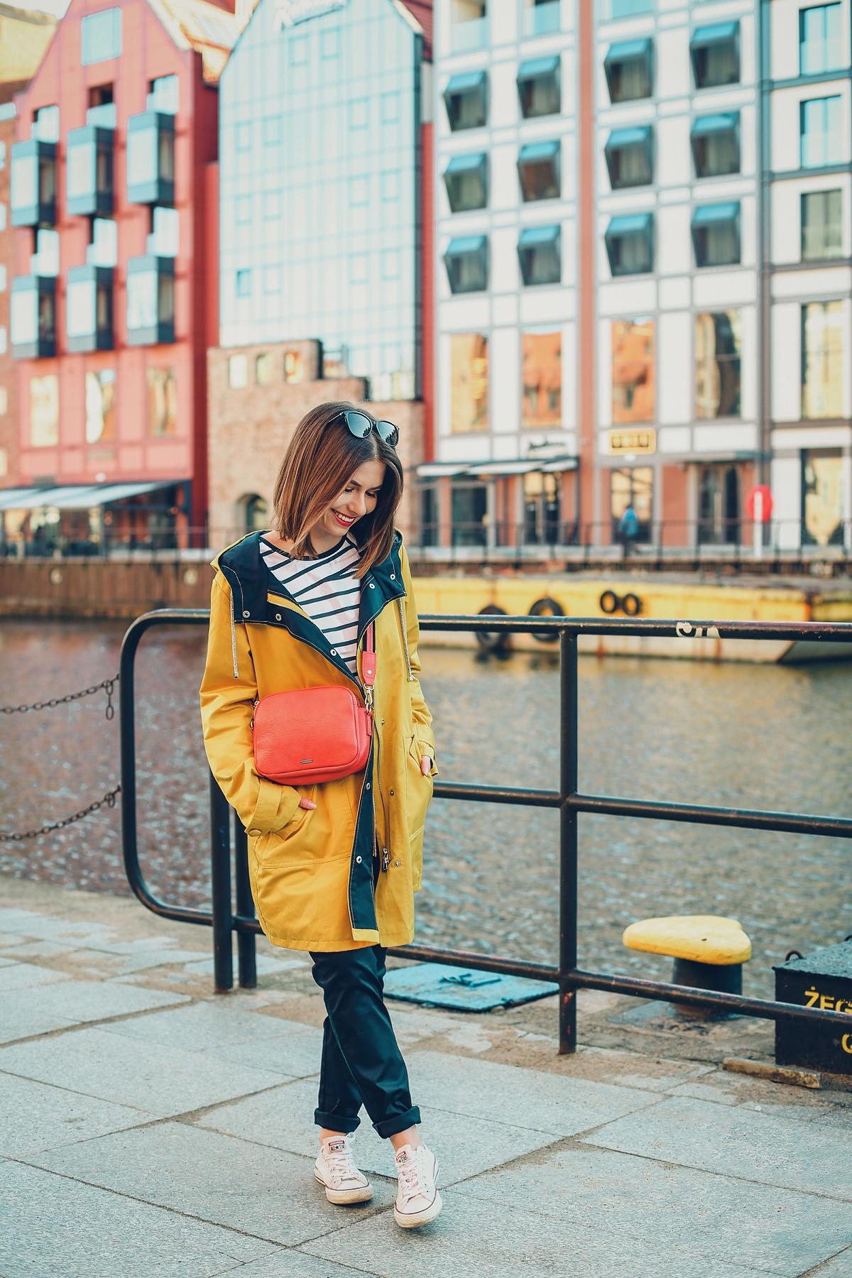 żółty sztormiak przeciwdeszczowy płaszcz sesja marynistyczna blog modowy