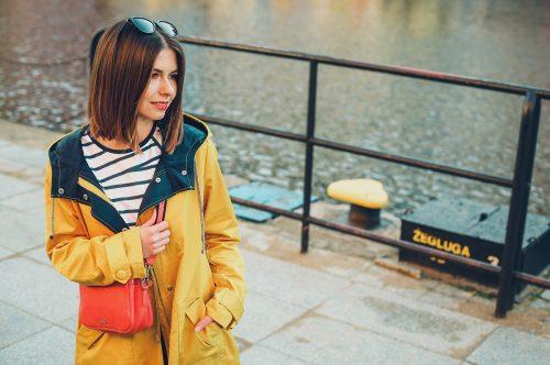 żółty sztormiak przeciwdeszczowa kurtka