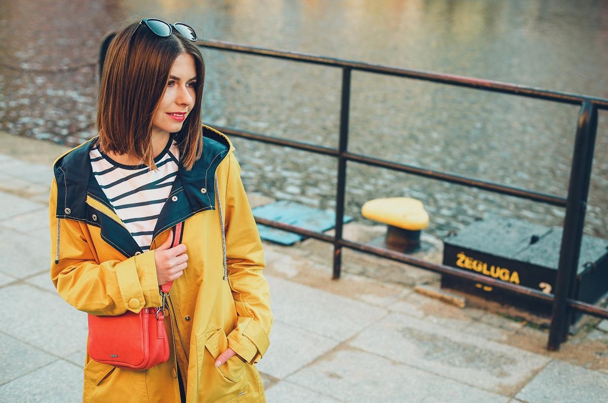 Żółty sztormiak – idealny płaszcz przeciwdeszczowy