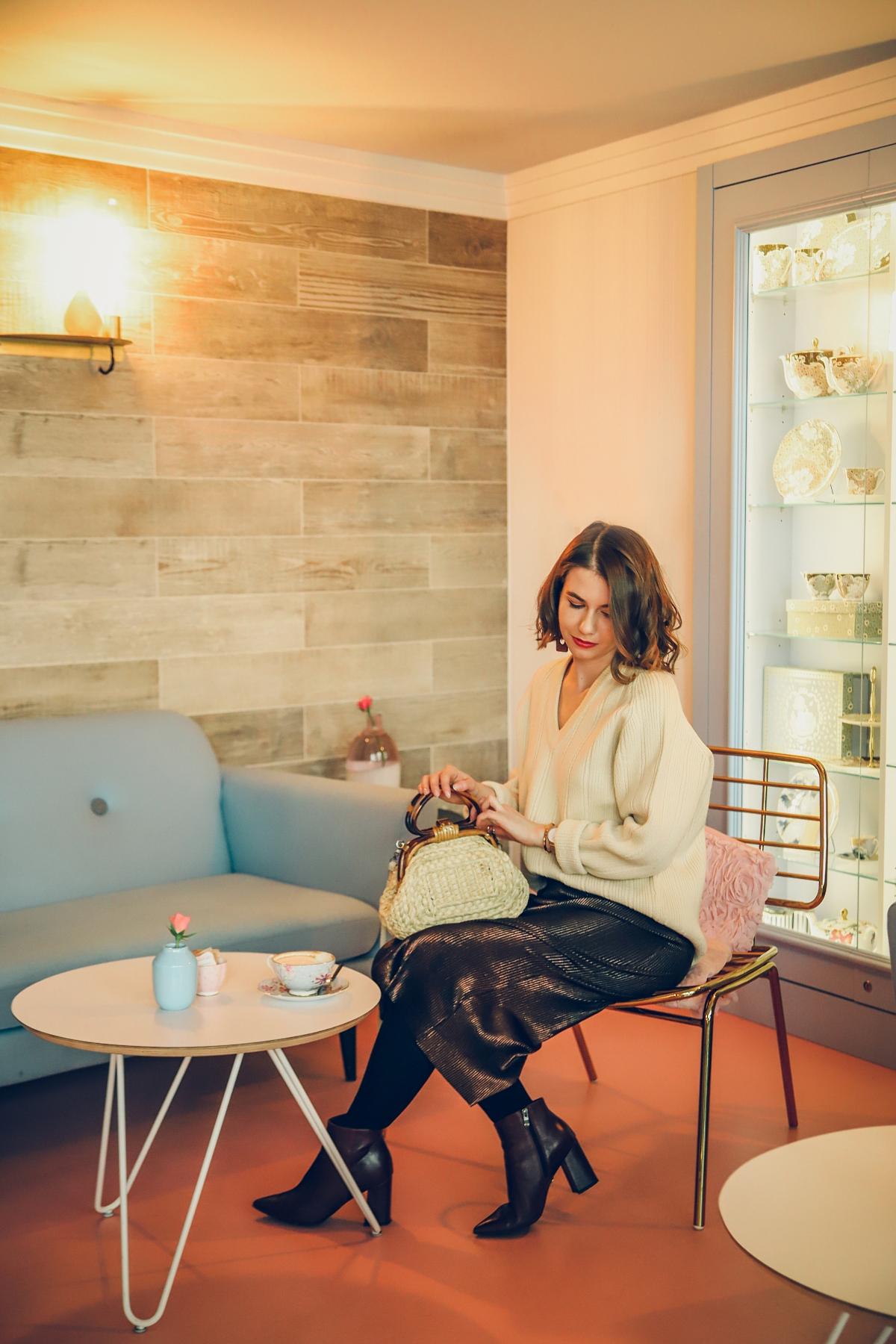 Rosse Rosse blyszczaca spodnica sweter vintage