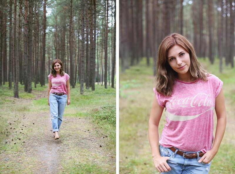 Boyfriend jeans i T-shirt vintage Coca-cola