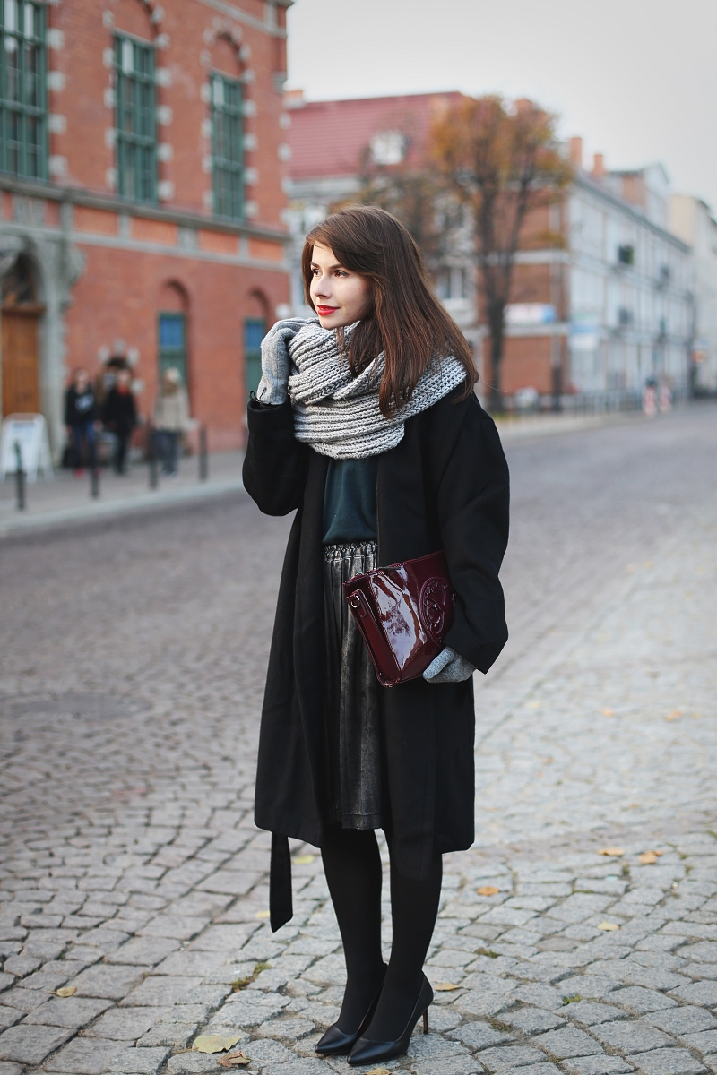 Wełniany płaszcz i szalik handmade
