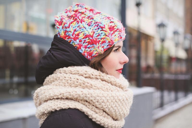 Wełniana czapa i szal - różne kolory