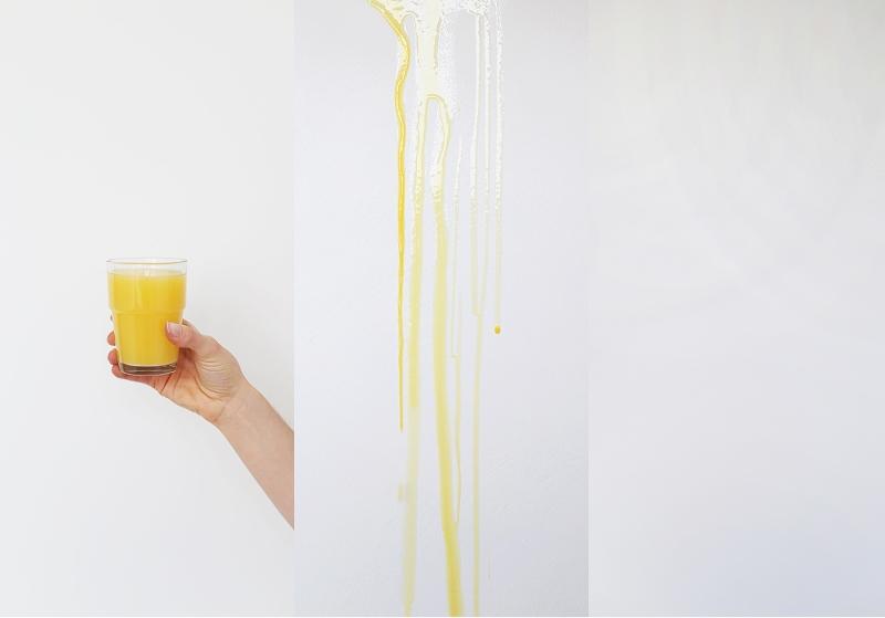 Śnieżka Satynowa - plamy z soku na białej ścianie