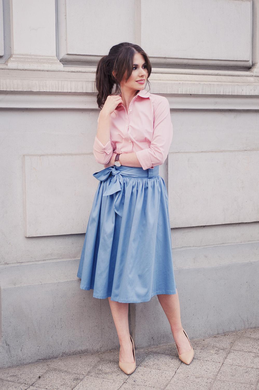 Marie Zelie - bawełniana różowa koszula i rozkloszowana spódnica
