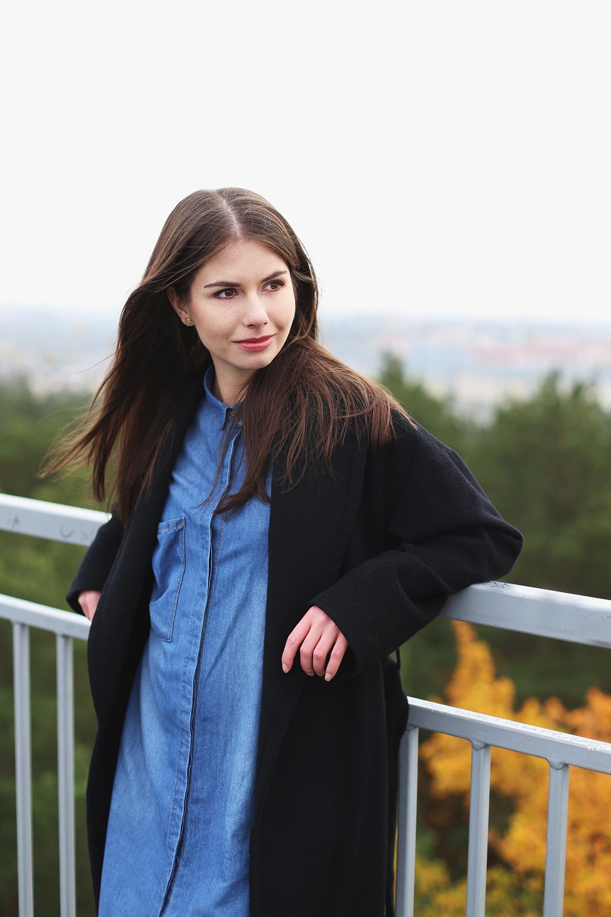 Jeansowa koszula & wełniany płaszcz
