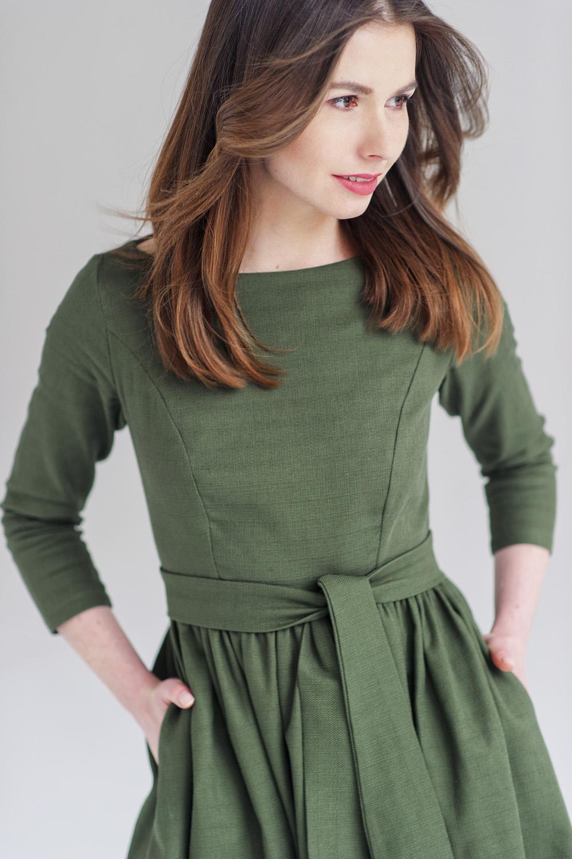 Limitowana edycja sukienki Melia - Marie Zelie - oliwkowa