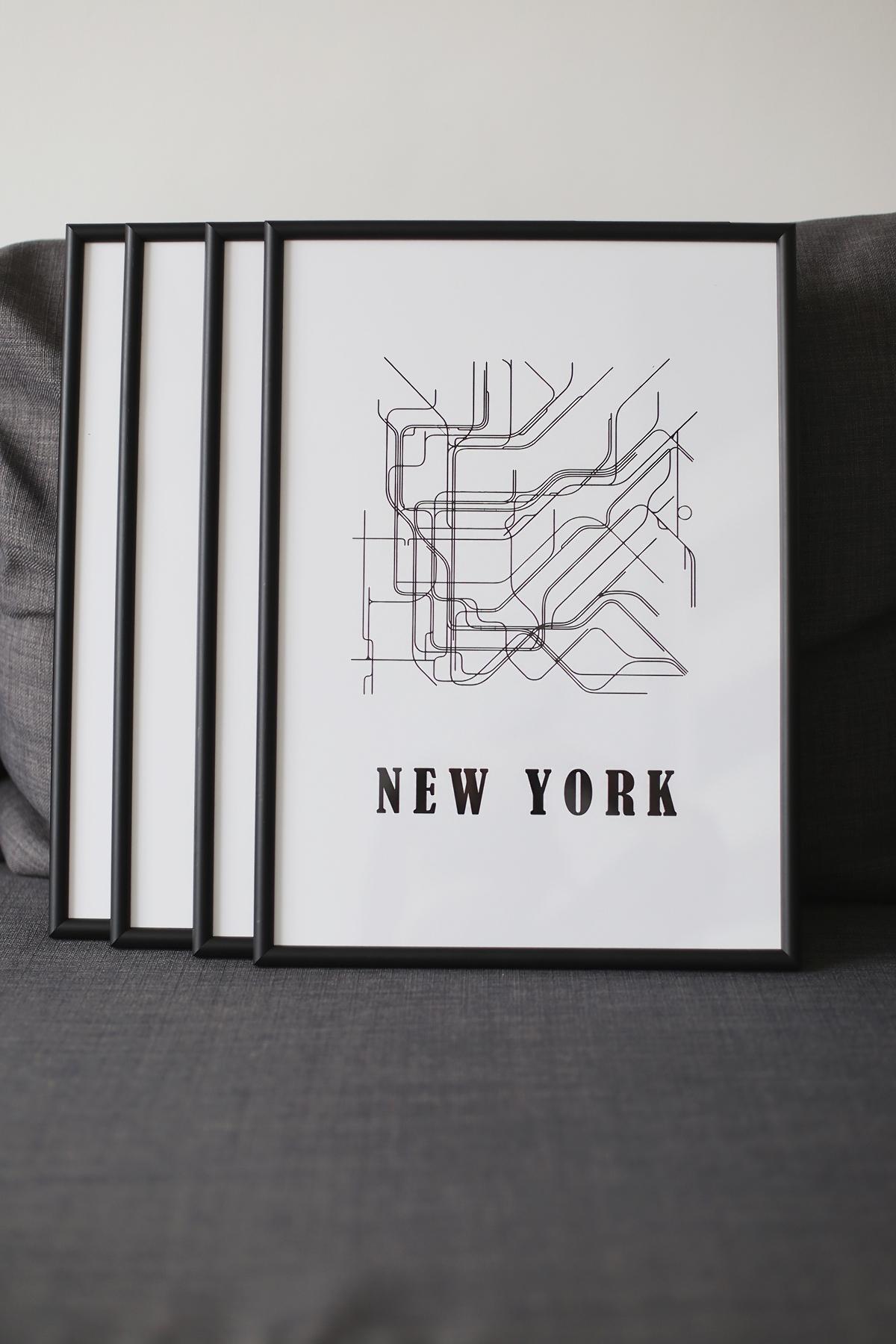 Czarno białe grafiki na ścianę - mapa Nowego Jorku