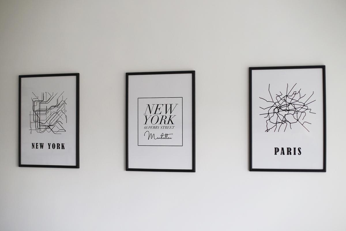 Czarno białe grafiki na ścianę - mapy