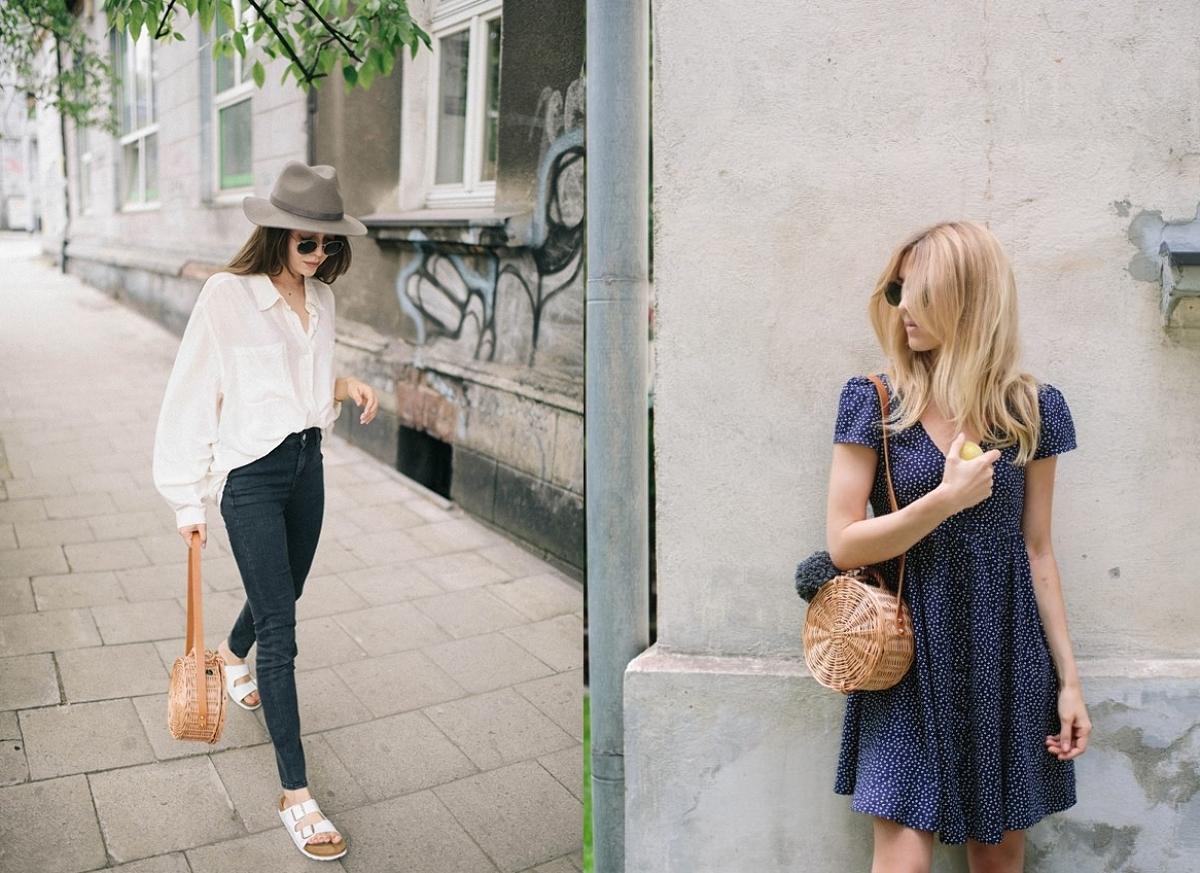 Okrągły koszyk wiklinowy - najmodniejsza torebka na lato 2017 - stylizacje blogerek