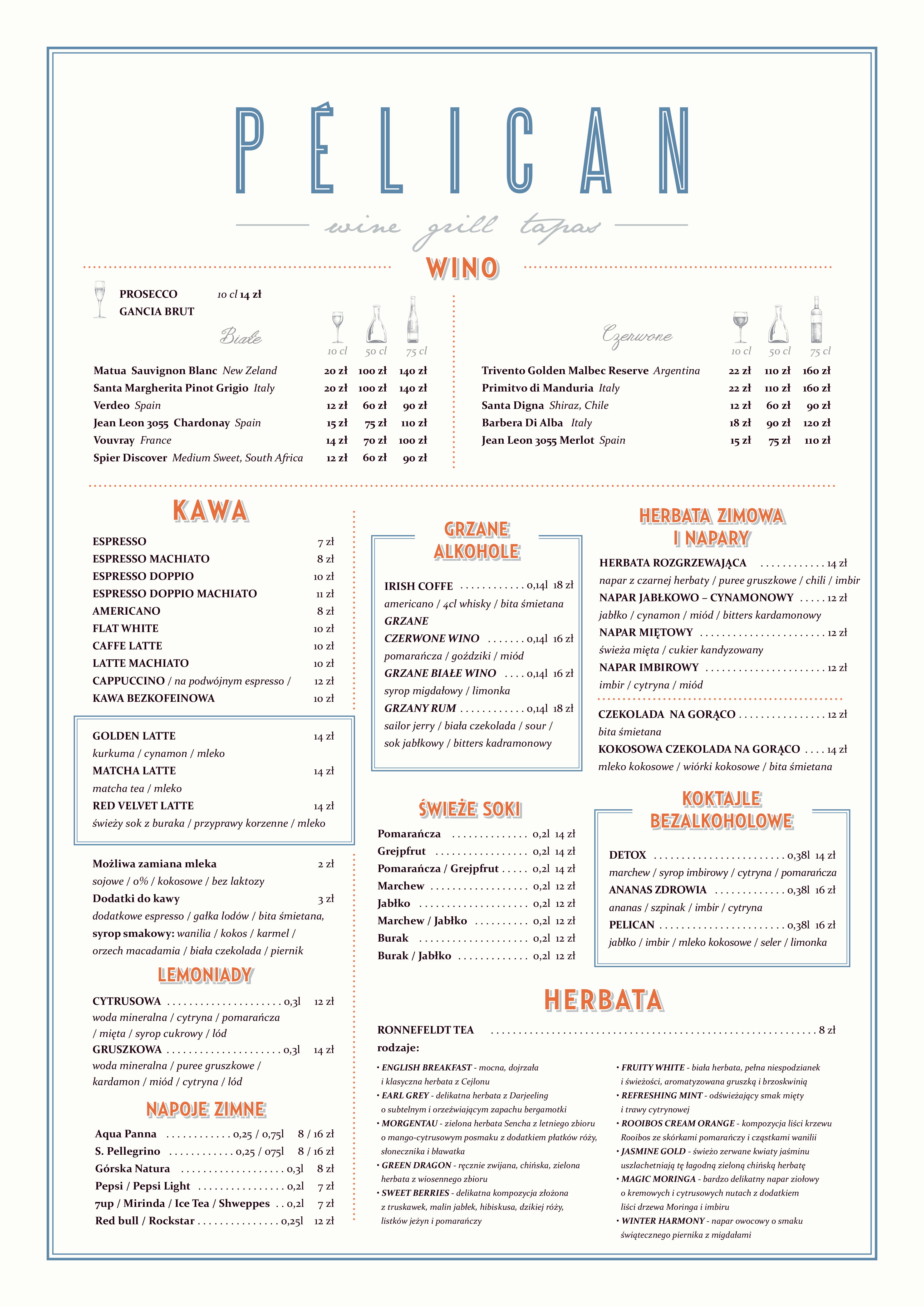 Restauracja Pélican w Sopocie - karta dań