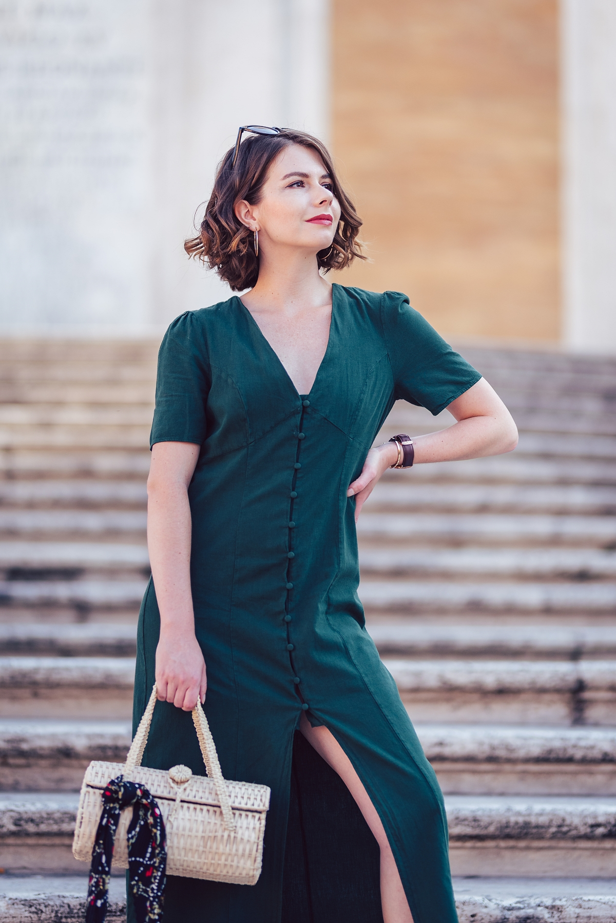 zielona sukienka maxi sesja modowa rzym schody hiszpańskie
