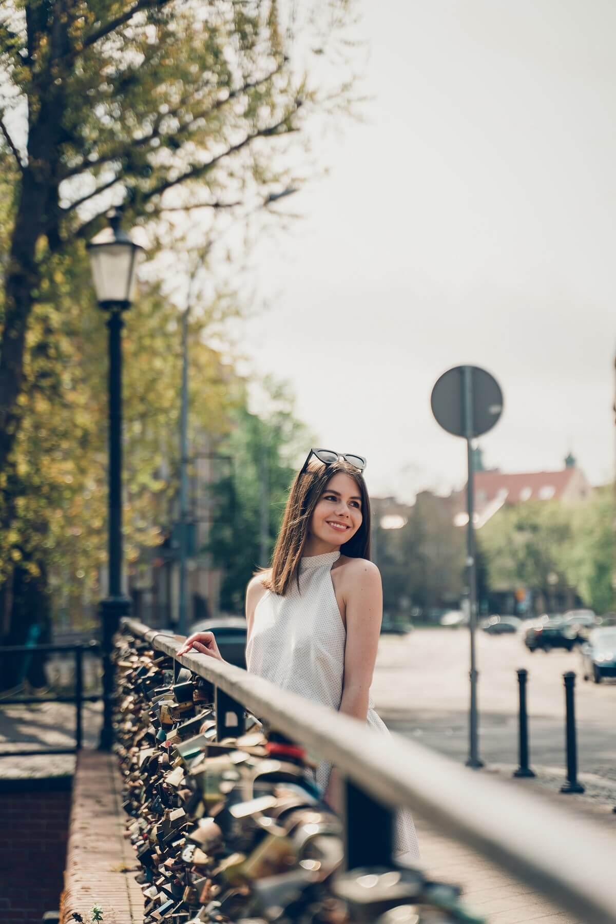 sukienka w groszki Laurella most miłości Gdańsk