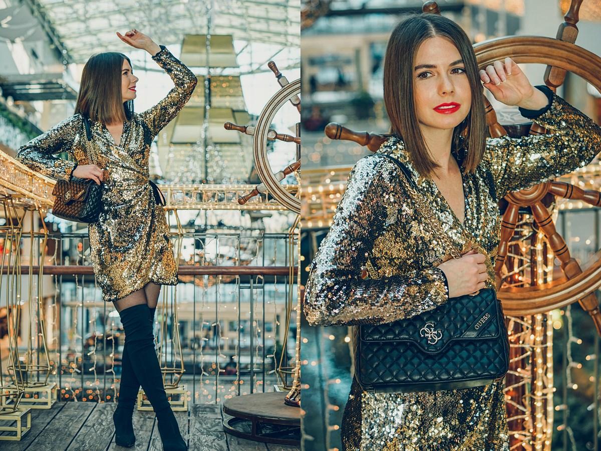 stylizacja sylwestrowa idealna cekinowa sukienka