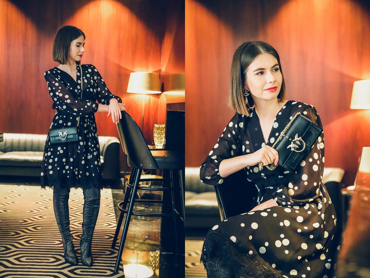Stylizacje sylwestrowe - sukienka w grochy i torebka Pinko
