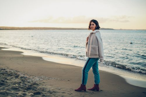 kurtka miś i jeansy z lampasami blog modowy