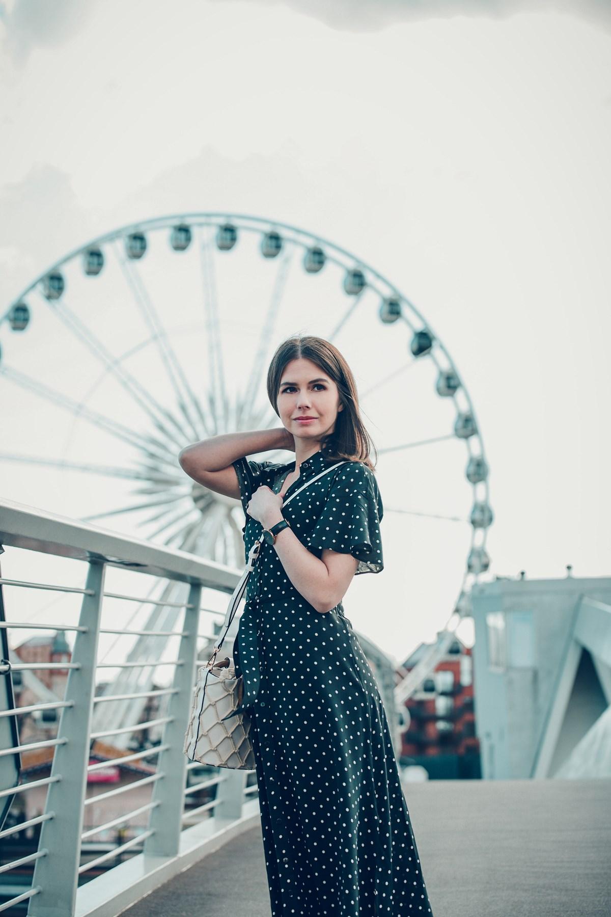 blogerka modowa gdańsk retro sukienka maxi w groszki