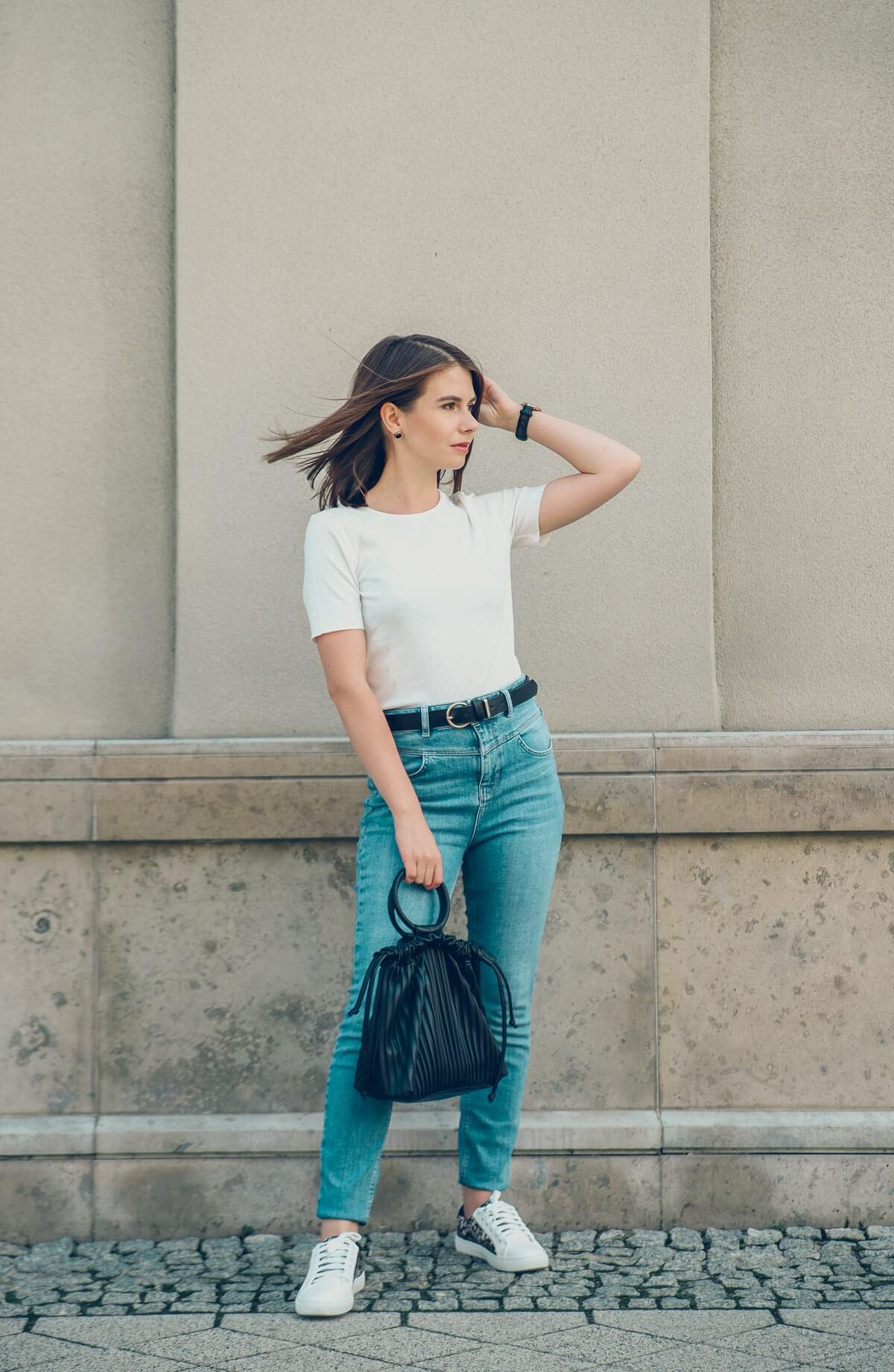 jeans jeansy biały tshirt orsay
