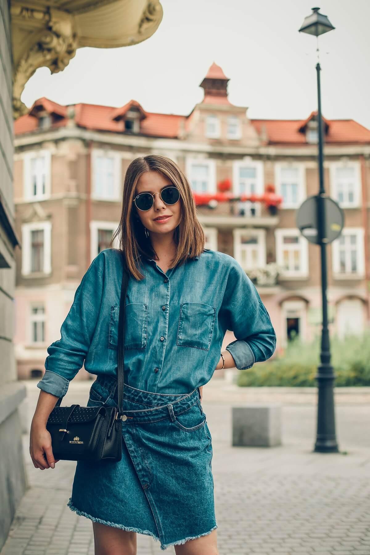 jeans total look torebka wittchen