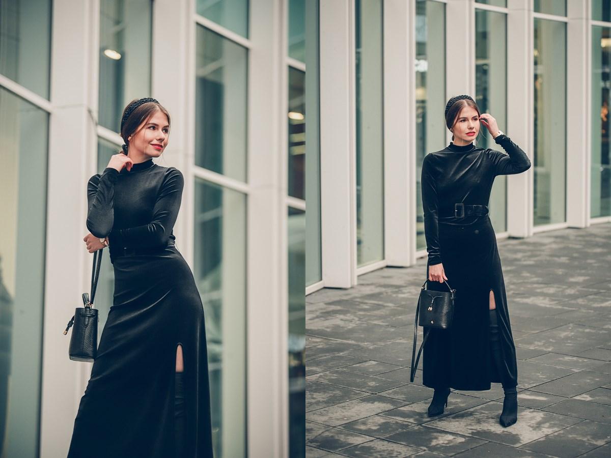 czarna welurowa sukienka