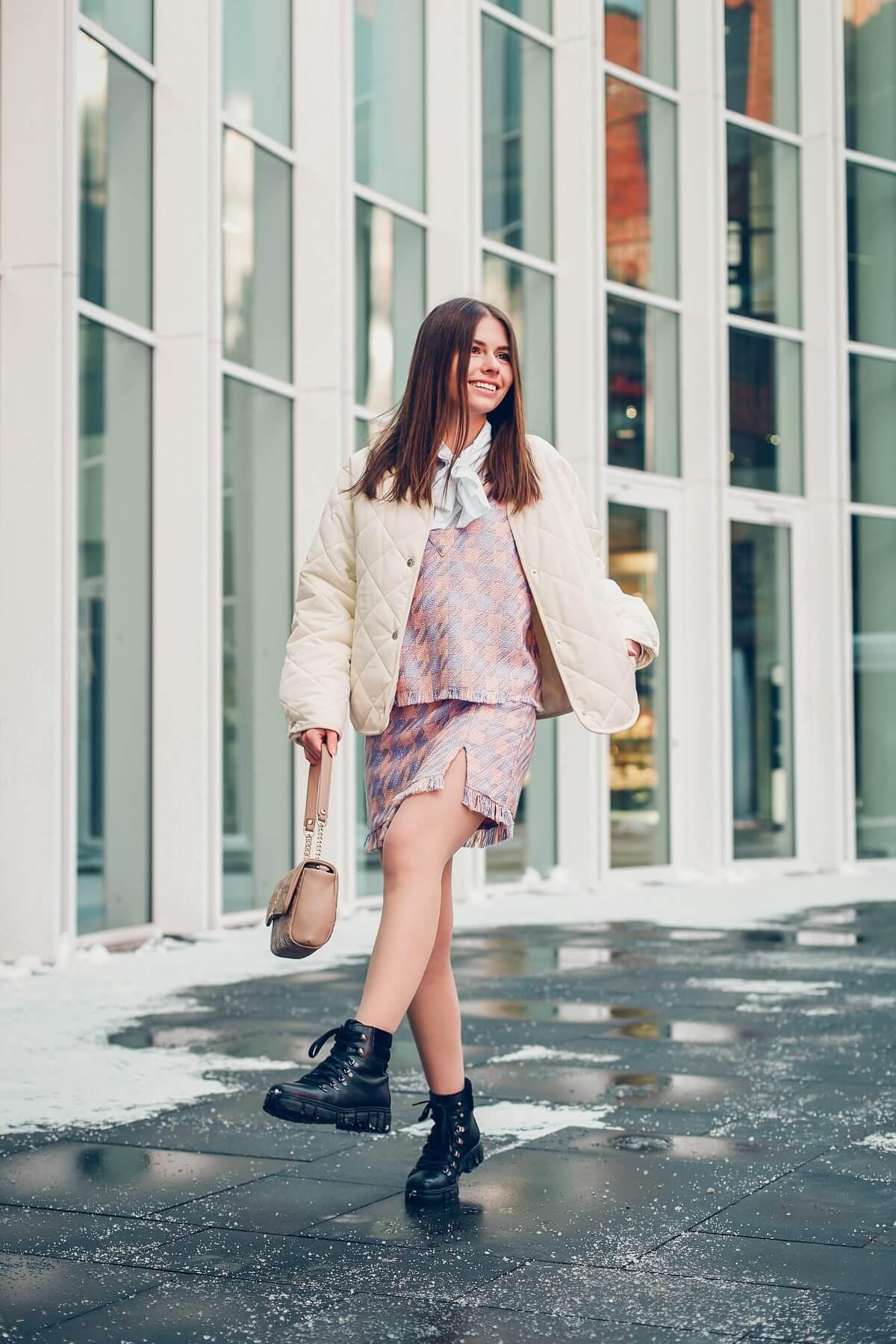 Blair Waldorf kamizelka,  mini spódniczka, pikowana kurtka