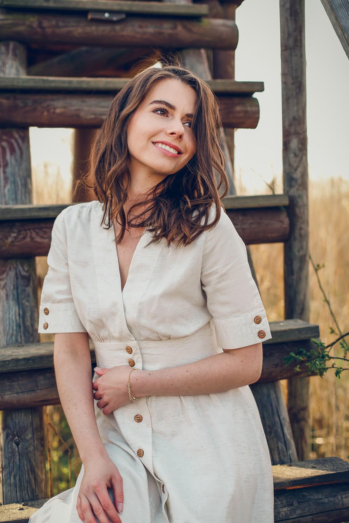 Greenpoint wiskozowa sukienka z domieszką lnu