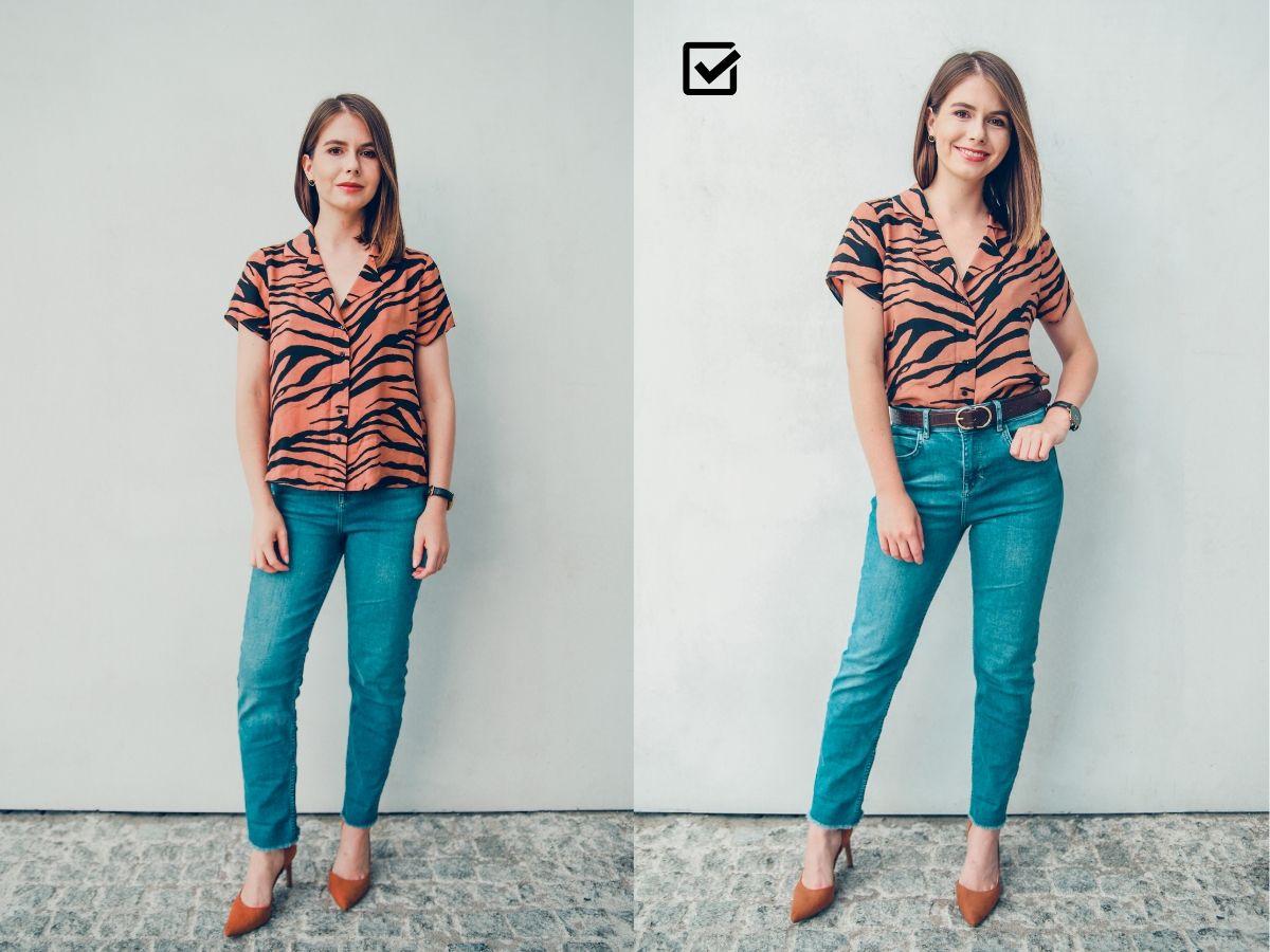 stylizacja przed po jeans