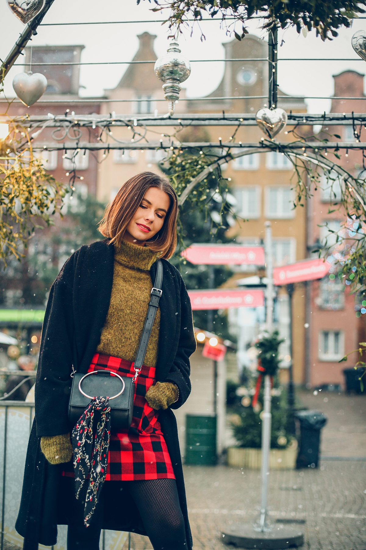 mini spódniczka w kratę jarmark bożonarodzeniowy Gdańsk
