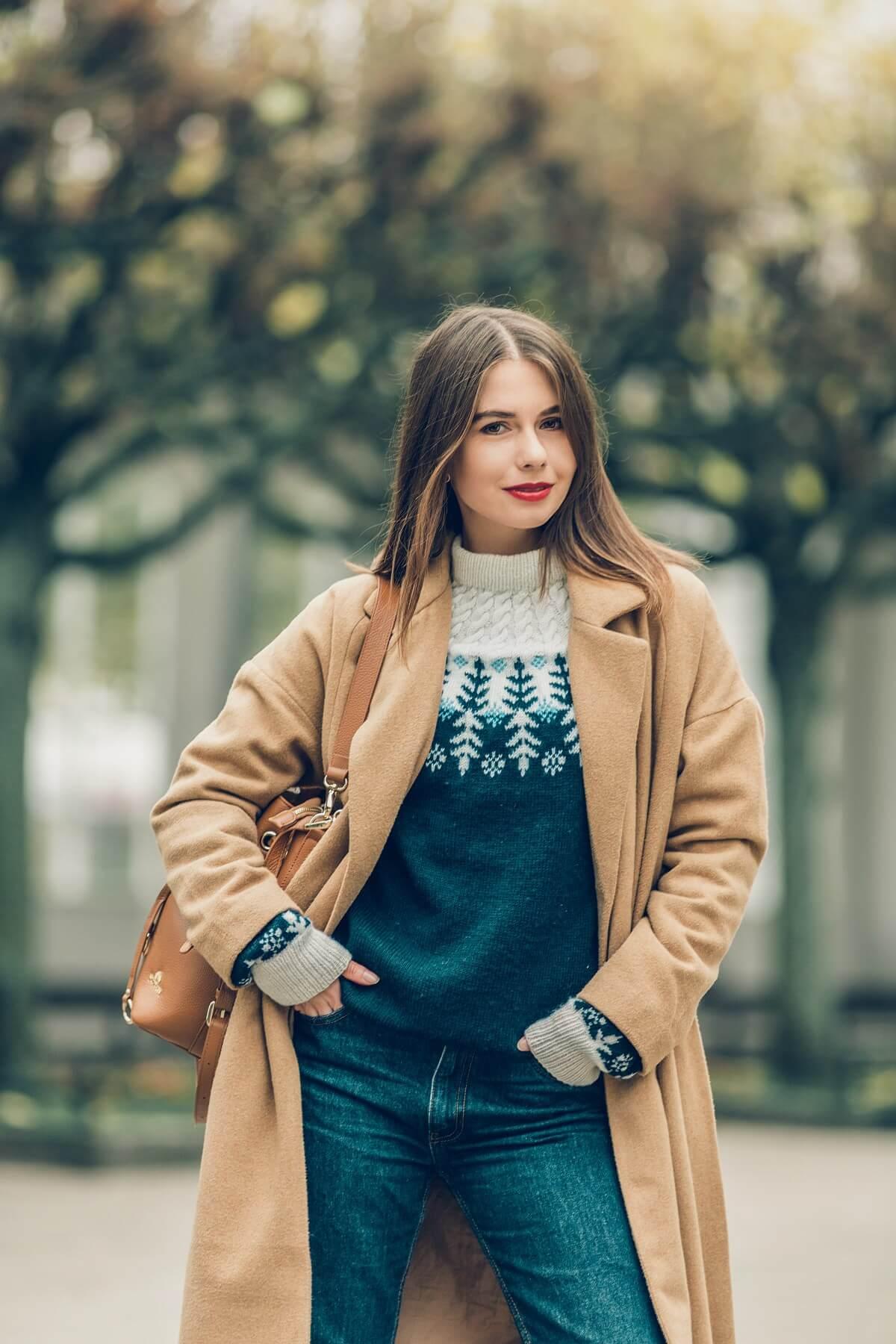 stylizacja zimowa blog modowy sesja Sopot kurtka sztruksowa z kożuchem